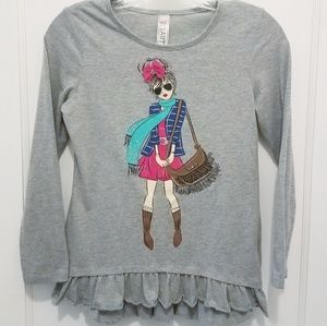 Beautees Girls Longsleeved Top with Cute Graphic